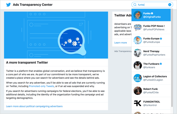 ALTTo view ads for a business, head over to the Twitter Ads Transparency Center.