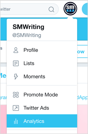Click your Twitter profile picture and select Analytics from the drop-down menu.