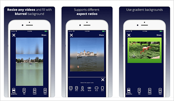 Video Resizer for IGTV & More lets you resize horizontal or square video for Instagram TV. The preview images from the iTunes store highlight the app's features. The first example shows a horizontal video of a rowboat on a lake with trees along the shore. Above the video is a blurred background that resembles the sky in the video. Below the video is a grayish green blurred background that matches the color of the lake. The second example shows a vertical video of a domed building on the shore of a river. The video was shot from a boat on the water. The vertical video has been resized to fit a square format, so a blurred background appears on each side of the video. The third example is a flamingo standing on green grass. The video has a bright green background that illustrates the app's ability to apply gradient backgrounds to videos.