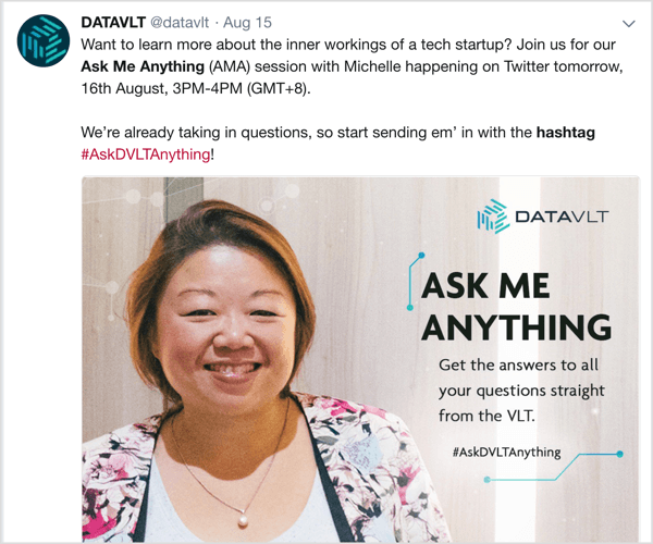 Twitter tweet sharing details about AMA and custom hashtag.