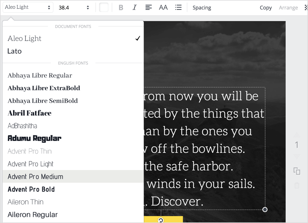 Click the font pop-up menu at the top of the Canva editor and select a different font.