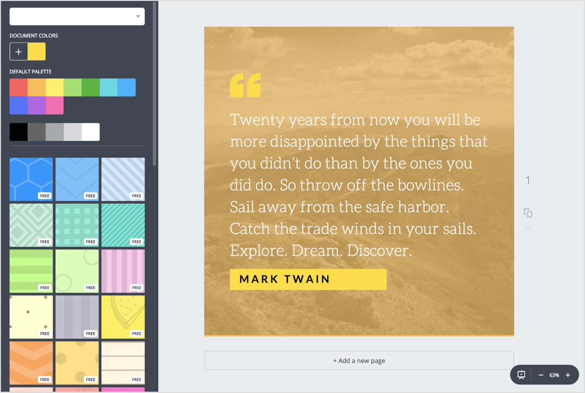 Choose background textures, colors, or search through Canva's library of royalty-free images.