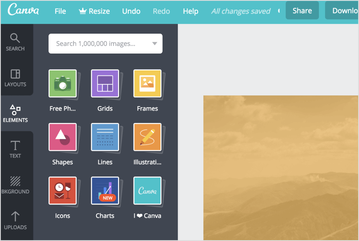 Click the Elements tab in Canva to see a list of different design elements to choose from.