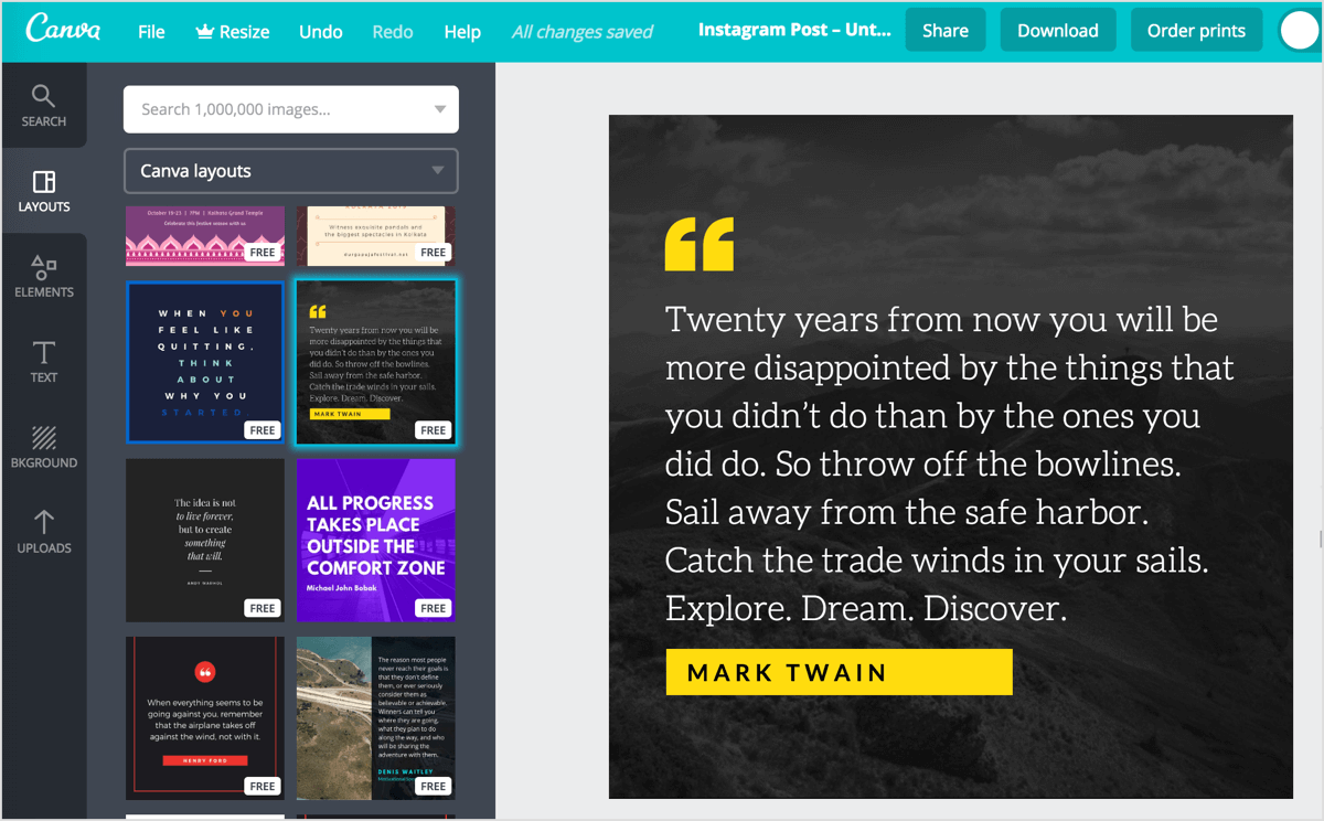Click the Layouts tab in Canva to see a list of post layouts to choose from.