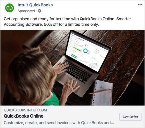 In this Intuit QuickBooks ad and landing page, notice the color tones and offer are consistent.
