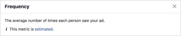 Facebook ads Frequency metric.