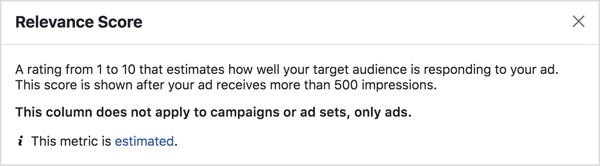 Score metrics relevant to Facebook ads.