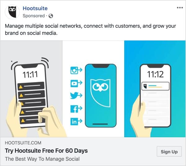 De berichtgeving in de Hootsuite Facebook-advertentie is duidelijk en beknopt.