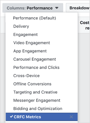 Navigate to the ad level of a campaign that has been running at least 2 weeks and select your custom reporting column.