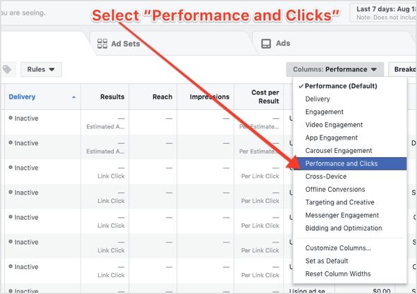 Select Performance and Clicks from the Columns drop-down menu in Facebook Ads Manager.