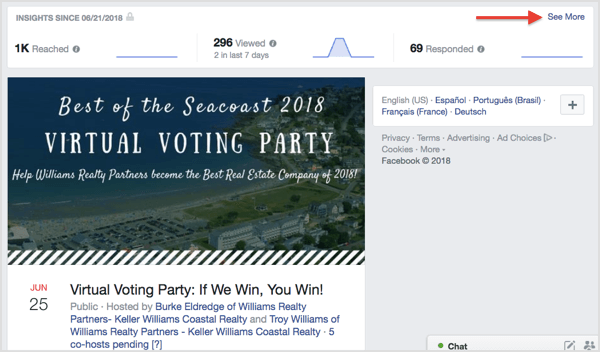 Find a quick overview of your Facebook event insights at the top of the event page.