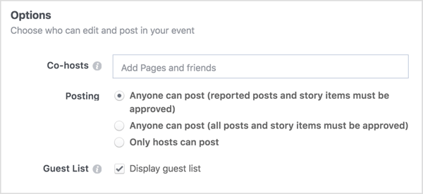 Enter the names of the business pages or friends you'll share your Facebook event with.