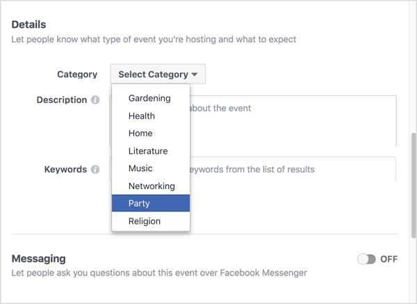 Choose the category that best describes your virtual Facebook event.
