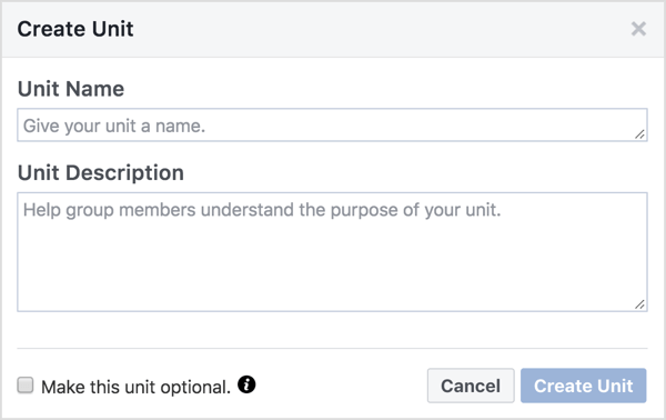 Give the Facebook group unit a name and description.