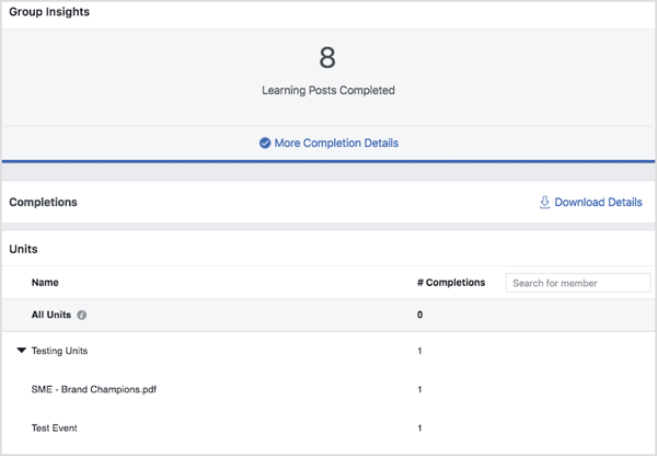 See completion stats for Facebook group units in Group Insights.
