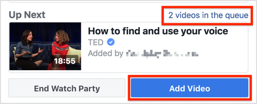 Click Add Video to add more videos to the Facebook watch party.