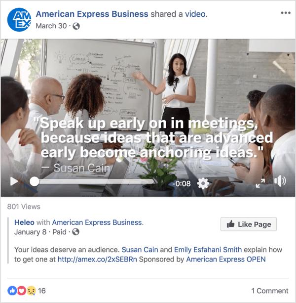 Deze Facebook-advertentie voor American Express Business bevat Susan Cain, een bekende leiderschaps- en managementexpert die bekendheid verwierf met een recente TED Talk.