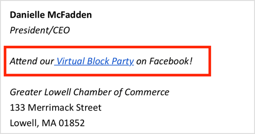 Promote your Facebook virtual event in your e-mail signature.