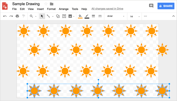 Use the grid to help you position rows evenly in your Google Drawings design.
