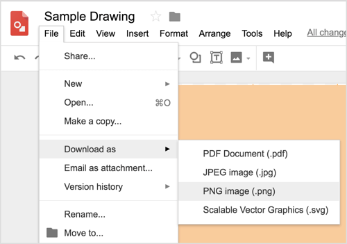 Choose File> Download as> PNG Image (.png) to download the Google Drawings design.
