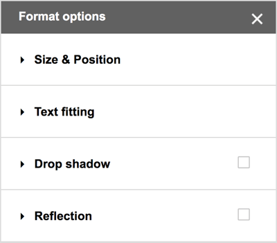 "Choose Format> Formatting Options from the Google Drawings menu bar to view additional options for external shadows, reflections, and detailed sizing and positioning options. ""Width ="" 400 ""height ="" 351"