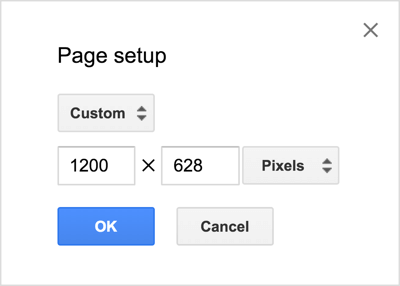 "In this example, the Google Drawings area has a size of 1200 x 628 pixels for a single-image Facebook news feed ad. ""Width ="" 400 ""height ="" 286"