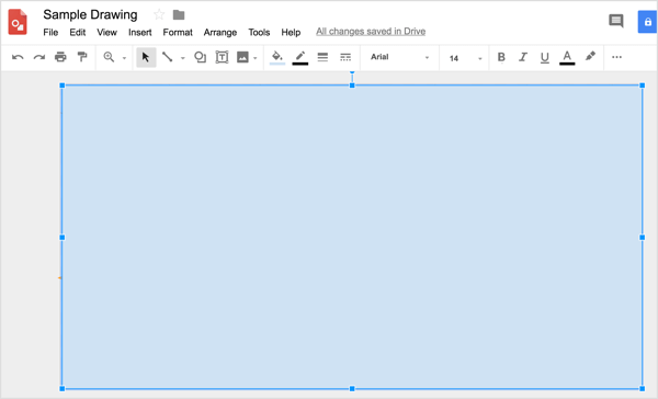 Use the rectangular shape tool to draw a rectangle that covers the entire canvas of Google drawings.