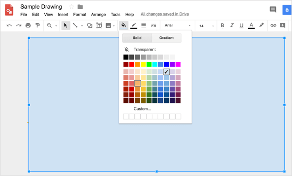 To apply a custom color to the shape, click the Fill color tool and select Custom.