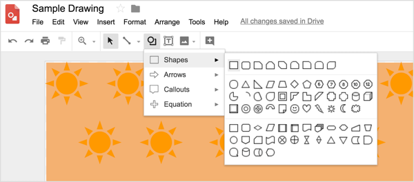 Select a shape tool and then draw the shape on the Google Drawings design.