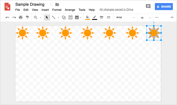 As you try to align your shape in a row in Google Drawings, useful reference lines are displayed as you click and drag copies.