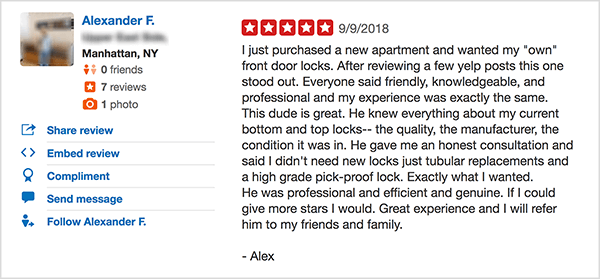 This is a screenshot of an enthusiastic and positive review of Lockbusters NYC on Yelp. Jay Baer says the company's quality service is an example of a talk trigger.