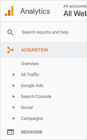 "This is a screenshot of the Google Analytics sidebar. The logo appears in the upper left. It's an orange dot next to a orange bar and then a taller yellow bar, suggesting a bar graph. From top to bottom in the sidebar are the following options: a box labeled ""Search reports and help"", Acquisition (which appears in orange), and its suboptions. The suboptions are Overview, All Traffic, Google Ads, Search Console, Social, and Campaigns. A small triangle appears next to each suboption, suggesting you can see additional options by clicking the triangle. The last main-level option shown is Behavior. Jennifer Priest uses Google Analytics to see which pins send her the most traffic and evaluate what hashtags, images, and boards are working well for her website traffic."