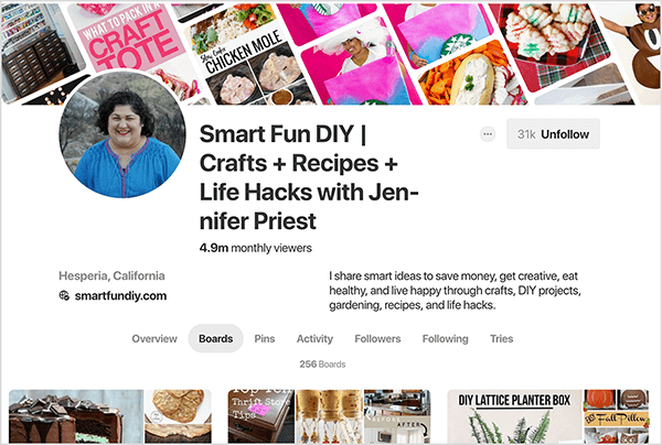 "This is a screenshot of Jennifer Priest's Pinterest profile, with the Boards tab selected. The banner image across the top is a composite of pin images slanted on a diagonal. The headline for her profile is ""Smart Fun DIY 