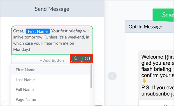 Oersonalize your message by clicking the curly brackets icon and adding emojis.