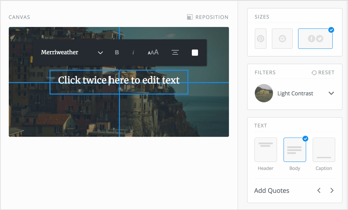 Double-click on the text box in your Pablo design to edit the text inside it.