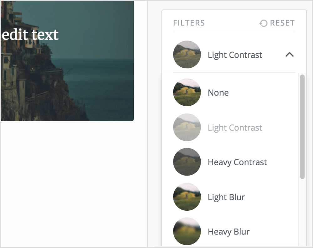Select the filter you want to apply to your image in Pablo.