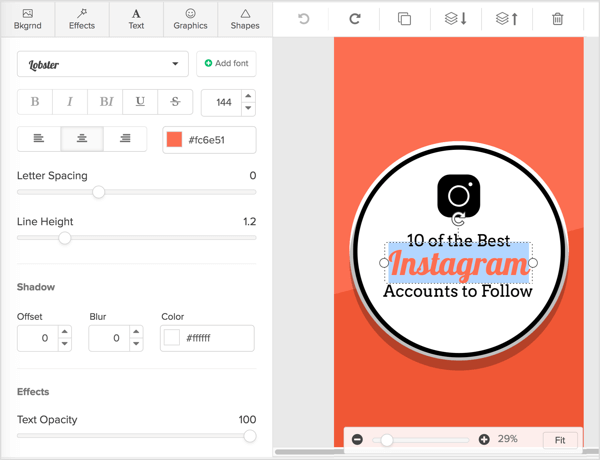 Double-click on any text elements in your Snappa design to add or change text.