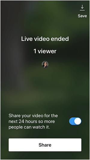 "This is a screenshot of the Instagram Live video screen that appears after you end a live video. The screen has a dark, blurred background that reflects the imagery of the live video. In the upper right is a Save option with a white down arrow above a thin white line. In the upper third is the text ""Live video ended 1 viewer"". The profile photo of the viewer appears in a small circle. In the lower third is the text ""Share you video for the next 24 hours so more people can watch it."" Beside this text is a blue and white toggle option. At the very bottom is a white button labeled ""Share"". Todd Bergin says he sometimes sees the option to save an Instagram Live video but not when he invites a guest to join his live broadcast."