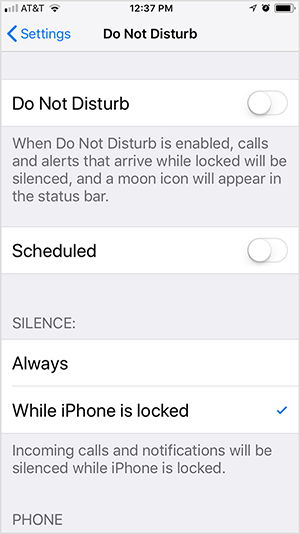"This is a screenshot of iOS Do Not Disturb settings. The first option is to toggle Do Not Disturb on or off. In this screenshot, the setting is off. Below the setting is the text ""When Do Not Disturb is enabled, calls and alerts that arrive while locked will be silenced, and a moon icon will appear in the status bar."" Below this option is the Scheduled option, which is toggled off. Then two options for Silence appear: Always or While iPhone Is Locked. In this screenshot, While iPhone is Locked is selected and the following text appears ""Incoming calls and notifications will be silenced while iPhone is locked."" Todd Bergin turns on Do Not Disturb and Always silence messages while he's streaming an Instagram Live video."