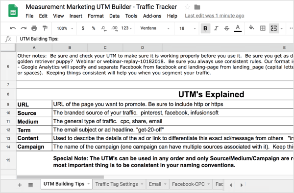 On the first tab, UTM Building Tips, you'll find a recap of the UTM information discussed earlier.