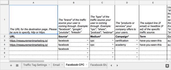 Open the Facebook-CPC tab of the UTM Builder spreadsheet.