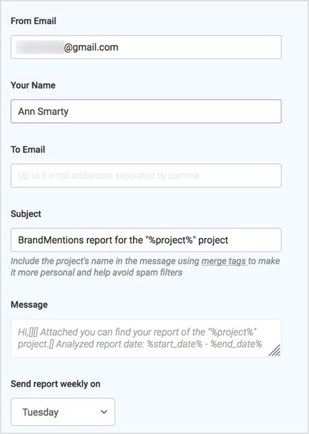 Generate a weekly report with BrandMentions.
