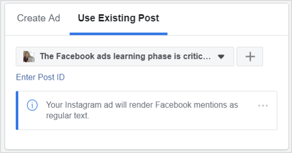 Click Use Existing Post instead of Create Ad.