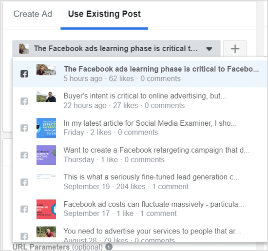 Click the down arrow and choose your post from the drop-down menu of your Facebook page posts.