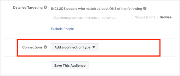 Connections section in Audiences section of Facebook ad campaign.