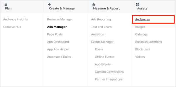 Open the Audiences dashboard in Facebook Ads Manager.
