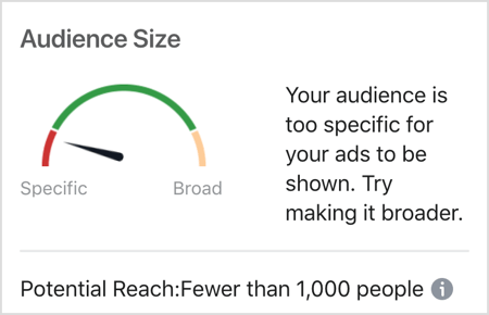 Too specific of an Audience Size