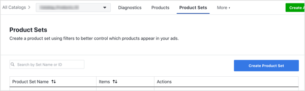 On the Product Sets tab, click the Create Product Set button.