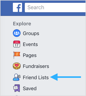 Go to your news feed page and click on Friend Lists under Explore.
