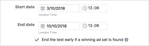 Select the checkbox to end the test early if a winning ad set is found.